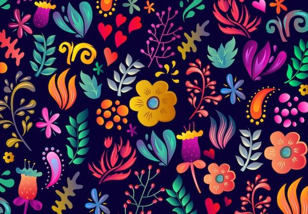 Niesamowity Kwiatowy Wzór Z Jasnymi Kolorowymi Kwiatami I Liśćmi Premium Wektorów