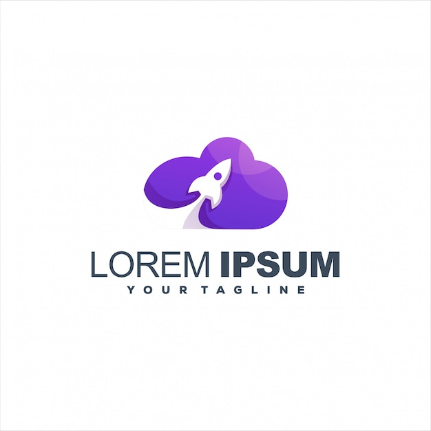 Niesamowity Projekt Logo Chmury Rakiet Premium Wektorów