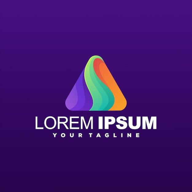 Niesamowity Szablon Logo Gradientu Trójkąta Premium Wektorów