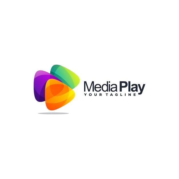 Niesamowity wektor logo projektu medialnego Premium Wektorów