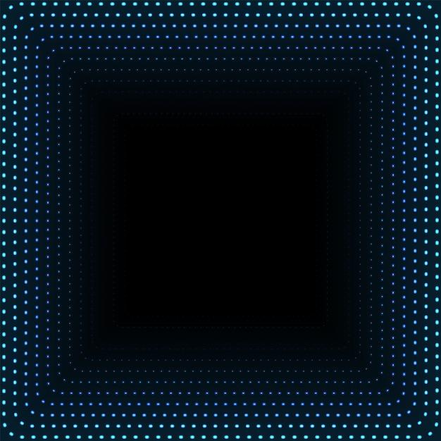 Nieskończony Kwadratowy Tunel świecących Kropek. Abstrakt Wskazuje Cyber Technologii Tło. Ilustracja Premium Wektorów