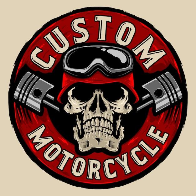 Niestandardowe Logo Motocyklistów Czaszki Premium Wektorów