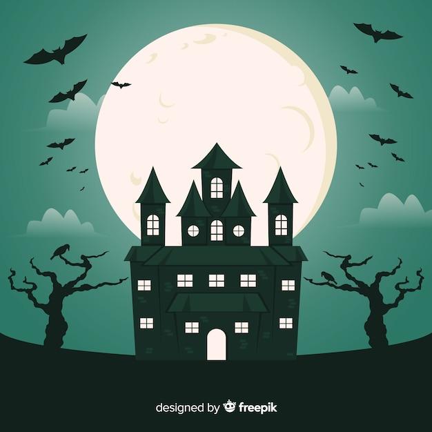 Nietoperze W Domu Halloween W Pełni W Nocy Darmowych Wektorów