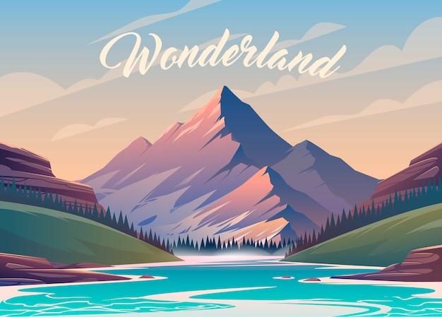Niewiarygodny Górski Krajobraz. Ilustracja. Ekscytujący Widok. Wielka Góra Jest Otoczona Rzeką. Premium Wektorów