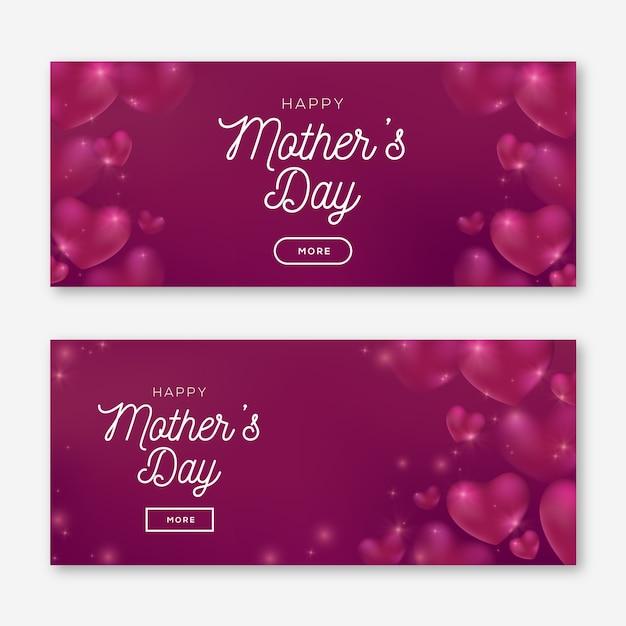Niewyraźne Banery Dzień Matki Z Pozdrowieniami Darmowych Wektorów