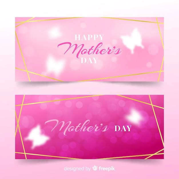 Niewyraźne Banery Na Dzień Matki Darmowych Wektorów
