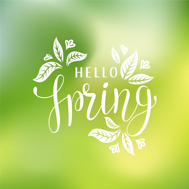 Niewyraźne Powitanie Wiosna Z Liśćmi Darmowych Wektorów
