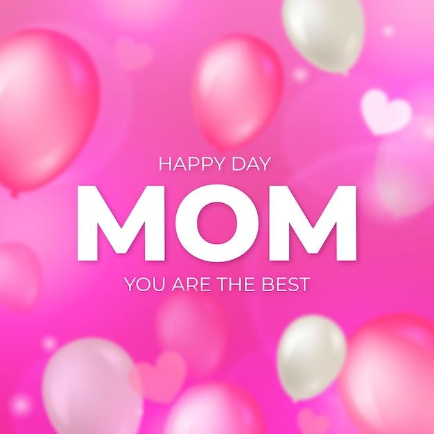 Niewyraźne Tło Dzień Matki Z Balonów Darmowych Wektorów
