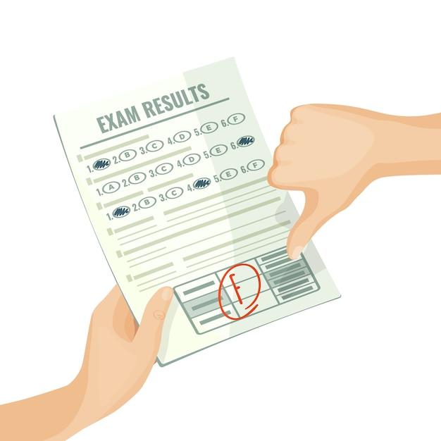 Niezadowalające Wyniki Egzaminu Na Papierze W Ludzkich Rękach. Ocena Na Test Uniwersytecki Lub Szkolny Z Izolowanym Mieszkaniem Kreskówkowym Złej Oceny. Premium Wektorów