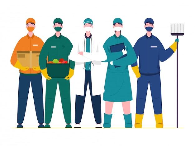 Niezbędni Pracownicy, Którzy Pracują Podczas Epidemii Koronawirusa (covid-19), Tacy Jak Lekarz, Pielęgniarka, Zamiatarka, Chłopiec Dostawy Na Białym Tle. Premium Wektorów