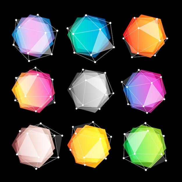 Niezwykłe Abstrakcyjne Kształty Geometryczne Logo Zestaw. Premium Wektorów