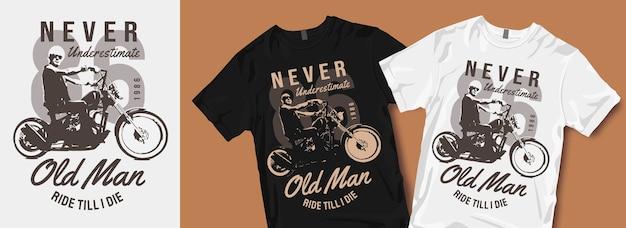 Nigdy Nie Lekceważ Koszulki Starego Człowieka Premium Wektorów