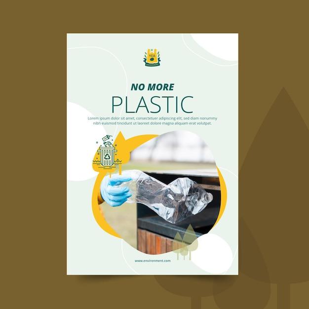 Nigdy Więcej Plastikowego Szablonu Plakatu środowiska Darmowych Wektorów