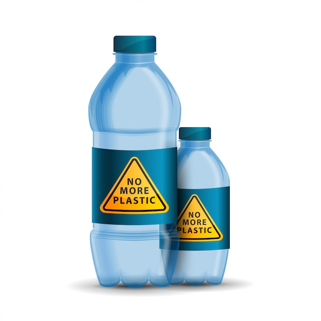 Nigdy więcej plastikowego, żółtego trójkątnego znaku ostrzegawczego na pokrywce butelki Premium Wektorów