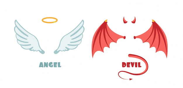 Nikt Anioł I Diabeł Nie Pasują. Symbole Wektorów Niewinnych I Psotnych Premium Wektorów