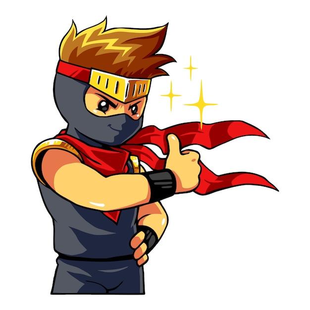 Ninja boy daje kciuk w górę. Premium Wektorów