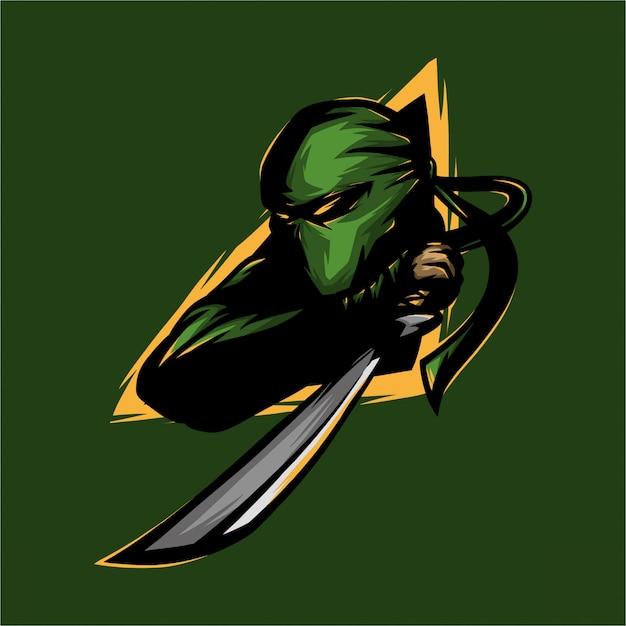 Ninja Logo E Sport I Miecz Premium Wektorów