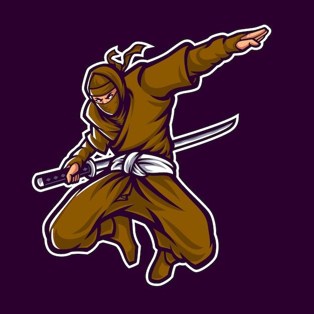 Ninja logo maskotka znaków w ciemnym tle Premium Wektorów
