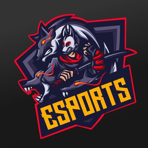 Ninja Ronin Samurai With Wolf Maskotka Projekt Ilustracji Sport Dla Logo Esport Gaming Team Squad Premium Wektorów