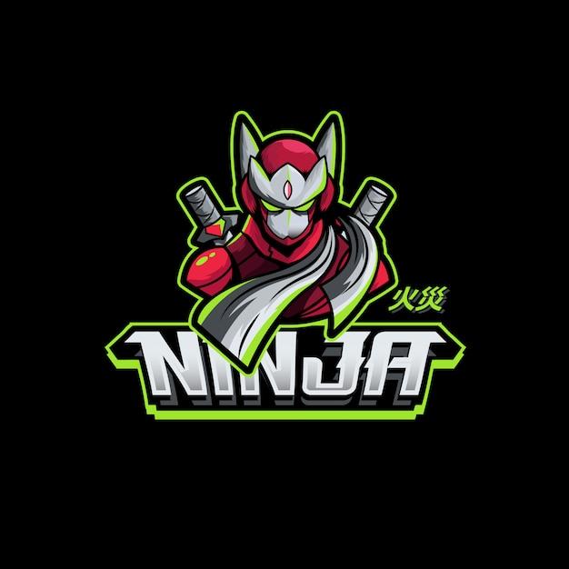 Ninja Sword Character Gaming Logo Maskotka Premium Wektorów