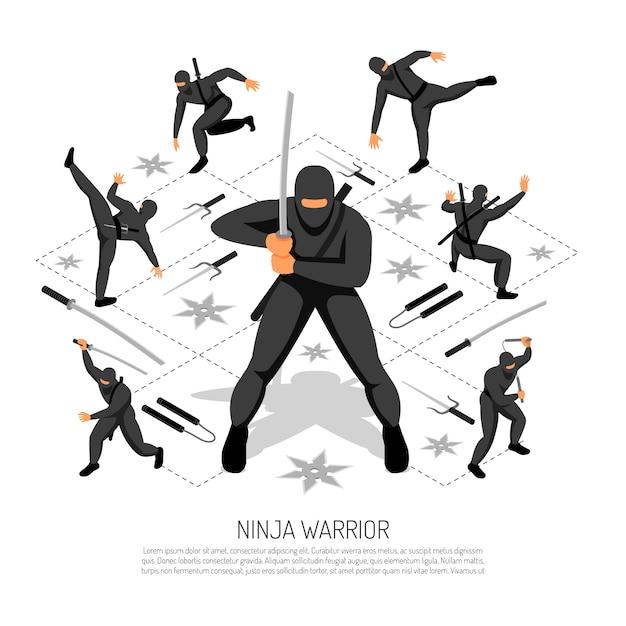 Ninja Wojownika Nie Do Pobicia Stickman Charakter W Różnych Akcji Stanowi Izometryczny Interaktywne Gry Wideo Ilustracji Wektorowych Darmowych Wektorów