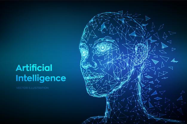 Niska Wielokąta Abstrakcyjna Cyfrowa Twarz Ludzka. Ai. Koncepcja Sztucznej Inteligencji. Premium Wektorów