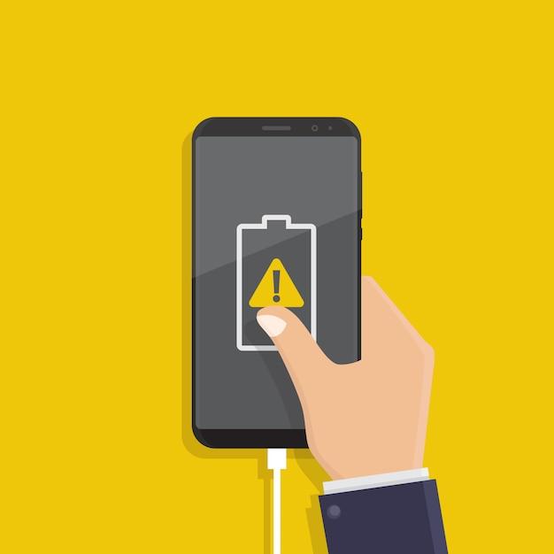 Niski lub uszkodzony akumulator powiadomienia, ilustracji wektorowych płaska konstrukcja Premium Wektorów