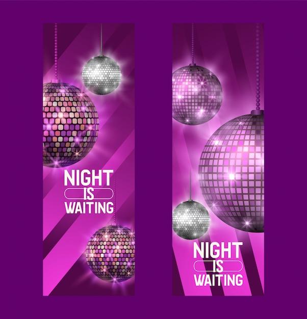 Noc czeka zestaw bannerów życie zaczyna się w nocy rozrywka i impreza disco show Premium Wektorów