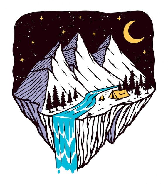 Noc Górskiej Scenerii Ilustracji Premium Wektorów