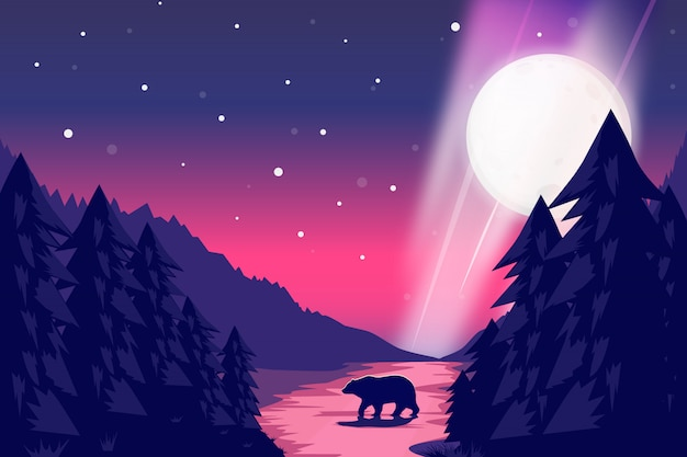 Noc krajobraz z gwiaździstą niebo ilustracją Premium Wektorów
