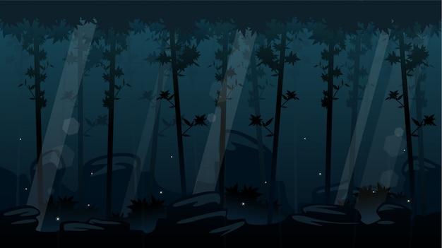 Noc Lasu Przewijanie Tło Premium Wektorów