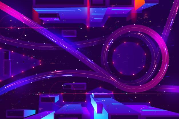 Noc Neonu Miasto Z Przewiezionej Wymiany Odgórnym Widokiem. Darmowych Wektorów