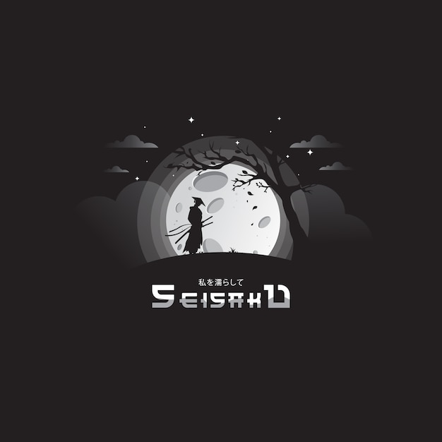Noc Samuraja Z Niesamowitym Księżycem Premium Wektorów