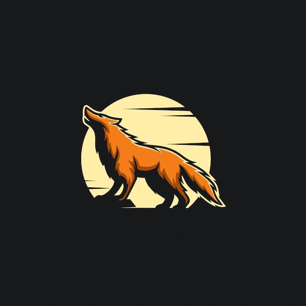 Noc Wilk Logo Projekt Ilustracji Premium Wektorów