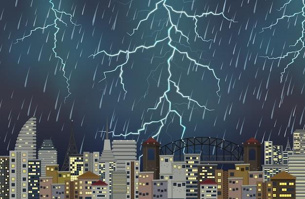 Nocna scena miejska burza z piorunami Darmowych Wektorów