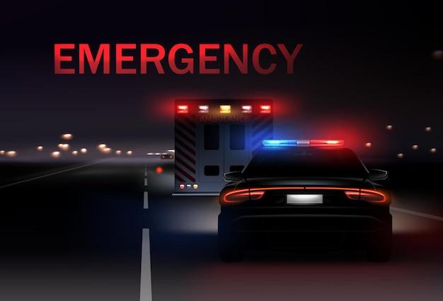 Nocne Miasto Z Samochodami Policyjnymi I Karetkami Z Syrenami Na Drodze. Realistyczna Ilustracja Premium Wektorów