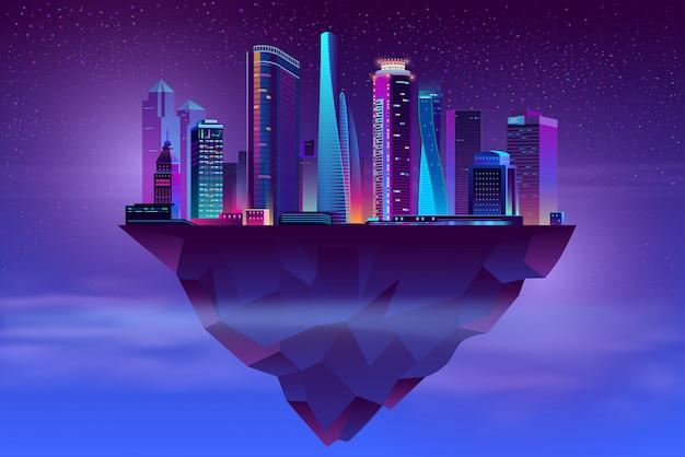 Nocny neon megapolis na strzelistej wyspie Darmowych Wektorów