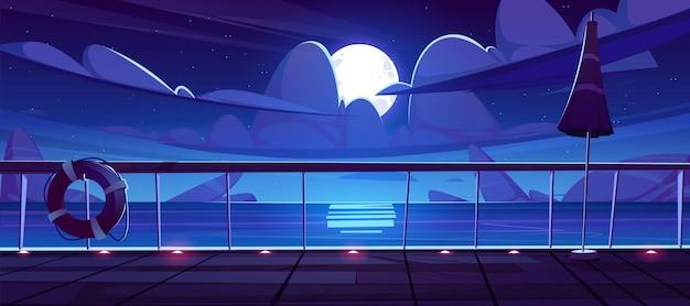 Nocny Widok Na Morze Z Pokładu Statku Wycieczkowego. Darmowych Wektorów