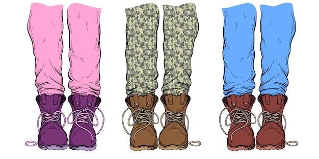 Nogi w spodniach i butach. Premium Wektorów