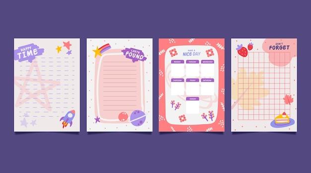 Notatki I Karty W Notatniku Premium Wektorów