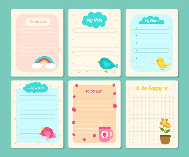 Notatki I Karty W Notatniku Darmowych Wektorów
