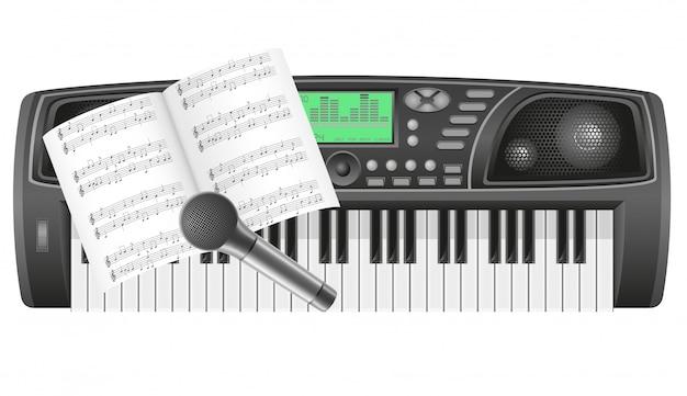 Notatki Syntezatora I Ilustracji Wektorowych Mikrofonu Premium Wektorów