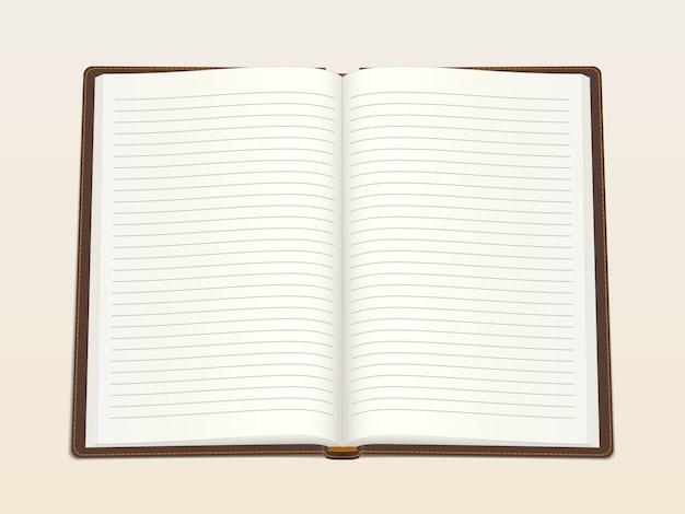 Notatnik, otwarty w środku. realistyczna ilustracja wektorowa. Premium Wektorów