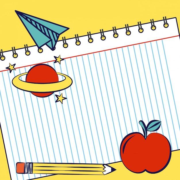 Notatnik z jabłkiem, planetą, ołówkiem i przyborów szkolnych Darmowych Wektorów
