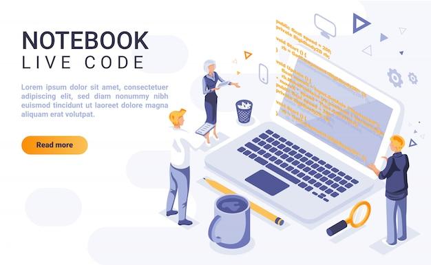 Notatnika kodu strony docelowej żywy sztandar z isometric ilustracją Premium Wektorów