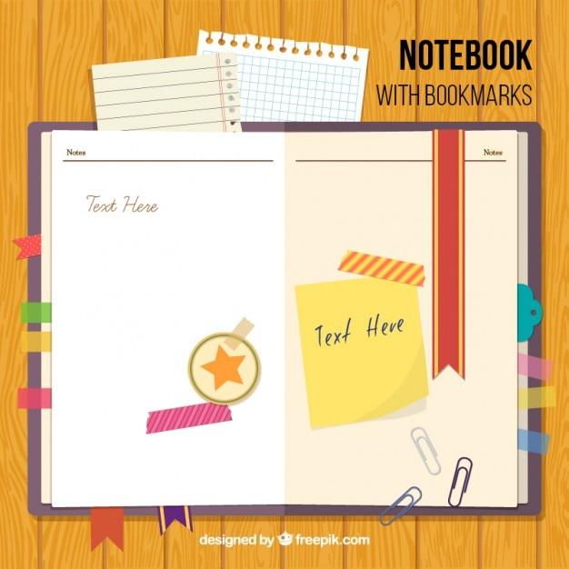 Notebook Z Zakładek I Akcesoria Darmowych Wektorów