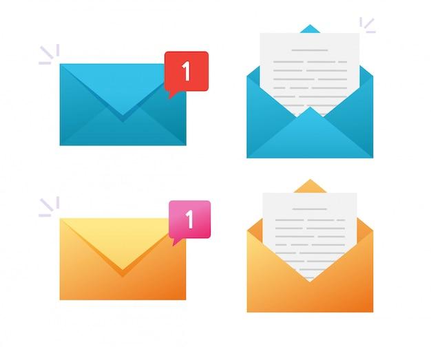 Nowa Ikona E-mail Wektor Lub Wiadomość Powiadomienia Powiadomienia Poczty Elektronicznej Płaska Konstrukcja Premium Wektorów