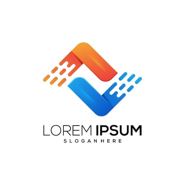 Nowa ikona logo tecngnology Premium Wektorów