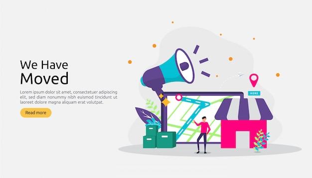 Nowa Informacja O Ogłoszeniu Lokalizacji Lub Zmiana Koncepcji Adresu Biura. Premium Wektorów