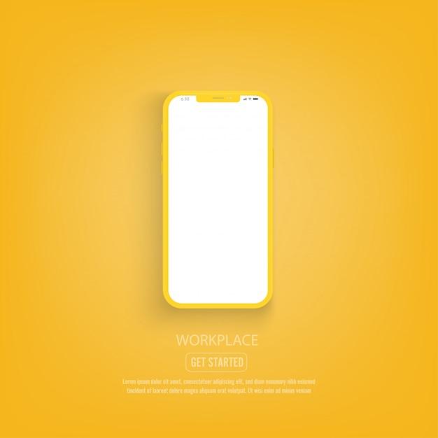 Nowa Wersja żółtego Smartfona Z Pustym Białym Ekranem. Premium Wektorów